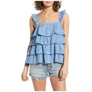 J by J.O.A. Blue Tiered Ruffle Eyelet Blouse